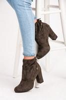 Podzimní boty se stahováním khaki