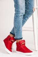 Vysoké červené trampky na suchý zip