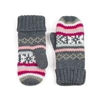 Palcové rukavice Pixel šedé s růžovým vzorem