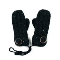 Palcové rukavičky s knoflíkem černé