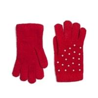 Červené rukavice s perličkami
