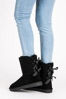 Zimní obuv s mašličkami černá