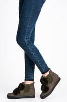 Módní khaki dámská obuv s kožešinkou