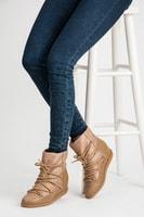 Pohodlné béžové zimní boty s kožíškem