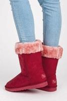 Sněhule s kožíškem červené