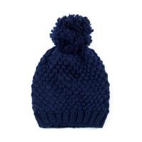 Zimní čepice s bambulí modrá