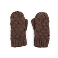 Palcové rukavice proplétané hnědé