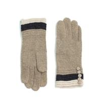 Vlněné tříbarevné rukavičky v béžové