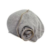 Pletená baretka se zipem šedá