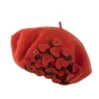 Vlněný baret s aplikací červený