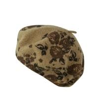 Vlněný baret se vzorem béžový