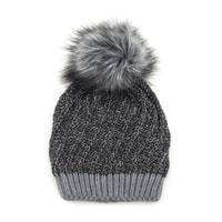 Zimní čepice s kožešinovou bambulí tmavě šedá