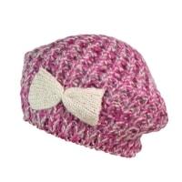 Dámský baret s mašlí růžový