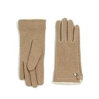 Béžové tmavé rukavičky s kožíškem