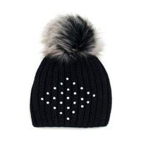 Dámská čepice s nýtky černá