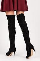 Krajkové kozačky nad kolena černé