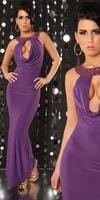 Fialové dlouhé šaty
