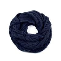 Dvojitá šála – komín s copánkovým vzorem modrý