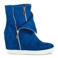 Ažurové boty na klínu modré