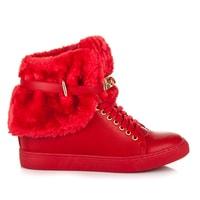 Sneakery s kožíškem červené