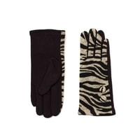Zebra vlněné rukavice béžové