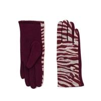 Zebra vlněné rukavice červené