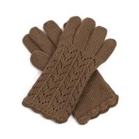 Dámské ažurové rukavice hnědé
