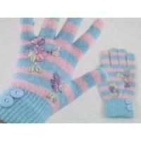 Prstové rukavice s pruhy růžové