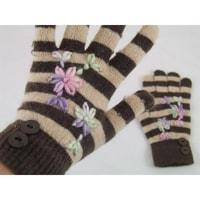 Prstové rukavice s pruhy hnědé