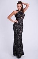 Krajkové dlouhé černé módní šaty