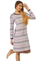 Bavlněná noční košile Cecilie šedá s norským vzorem