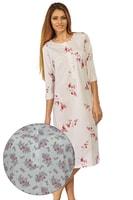 Dlouhá noční košile Dorota ecru s růžovými květy