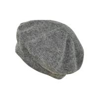 Teplý vlněný baret šedý