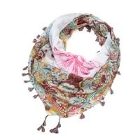 Etno šátek s třásněmi bílý