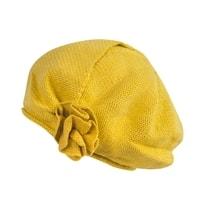 Pletený baret v módním stylu žlutý