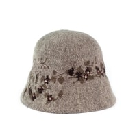 Vlněný klobouk s kamínky hnědý