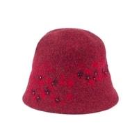 Vlněný klobouk s kamínky červený