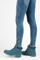 Dámské modré kotníkové boty trapery