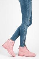 Dámské světle růžové kotníkové boty trapery