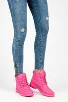 Dámské růžové kotníkové boty trapery