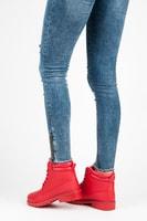 Dámské červené kotníkové boty trapery
