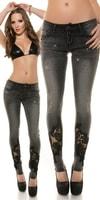 Černé dámské džíny s kamínky