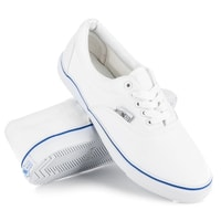 Bílé tenisky s modrým proužkem