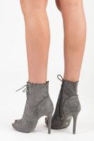 Šedé vázané boty open toe