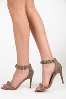 Khaki sandály na jehlovém podpatku