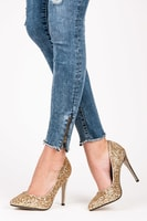 Brokátové boty na podpatku