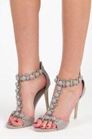 Elegantní šedé sandálky na podpatku