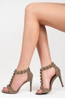 Elegantní zelené sandálky na podpatku