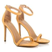 Zlaté sandály na jehlovém podpatku