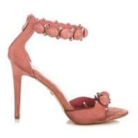 Stylové růžové sandály s ozdobami